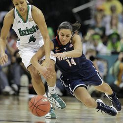 Notre Dame guard Skylar Diggins (4) and Connecticut guard Bria Hartley (14) vie for a loose ball during the second half of the NCAA women's Final Four semifinal college basketball game, in Denver, Sunday, April 1, 2012.
