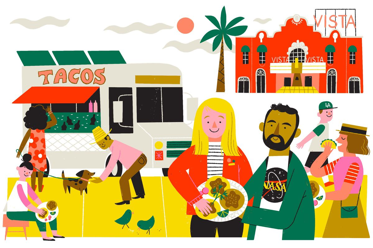 A multi-cultural group of people enjoy tacos from a taco truck outside of Vista theatre on a sunny day. Illustration.