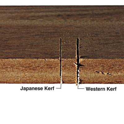 Wood with you kerf cuts on it, one is thinner and made by a Japanese hand saw while the other is thicker made by a western hand saw.
