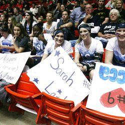 Utah State gymnasts support their teammates at the NCAA Salt Lake Regional Gymnastics Saturday, April 7, 2012 in Salt Lake City.