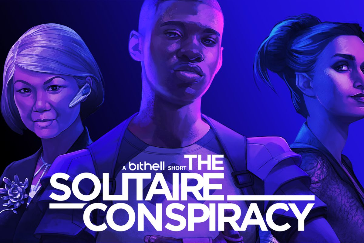 the cover of the solitaire comspiracy, featuring three figures in purple lighting