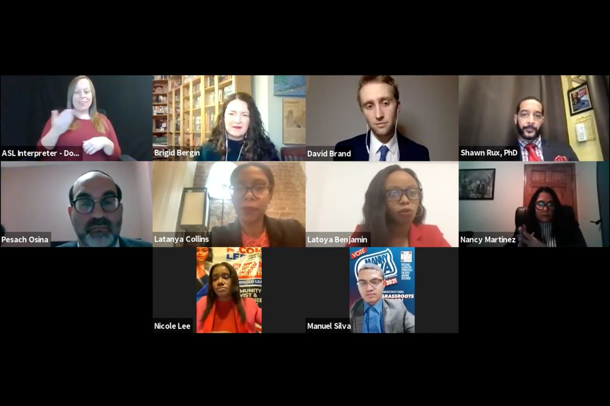 Candidates for the Queens City Council District 31 special election spoke at a virtual forum on ranked choice voting, Feb. 12, 2021.