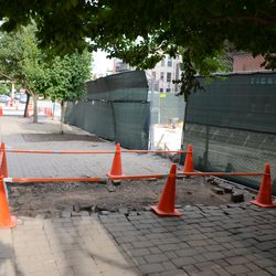 5:36 p.m. Another area where work is being done, along the Waveland sidewalk -