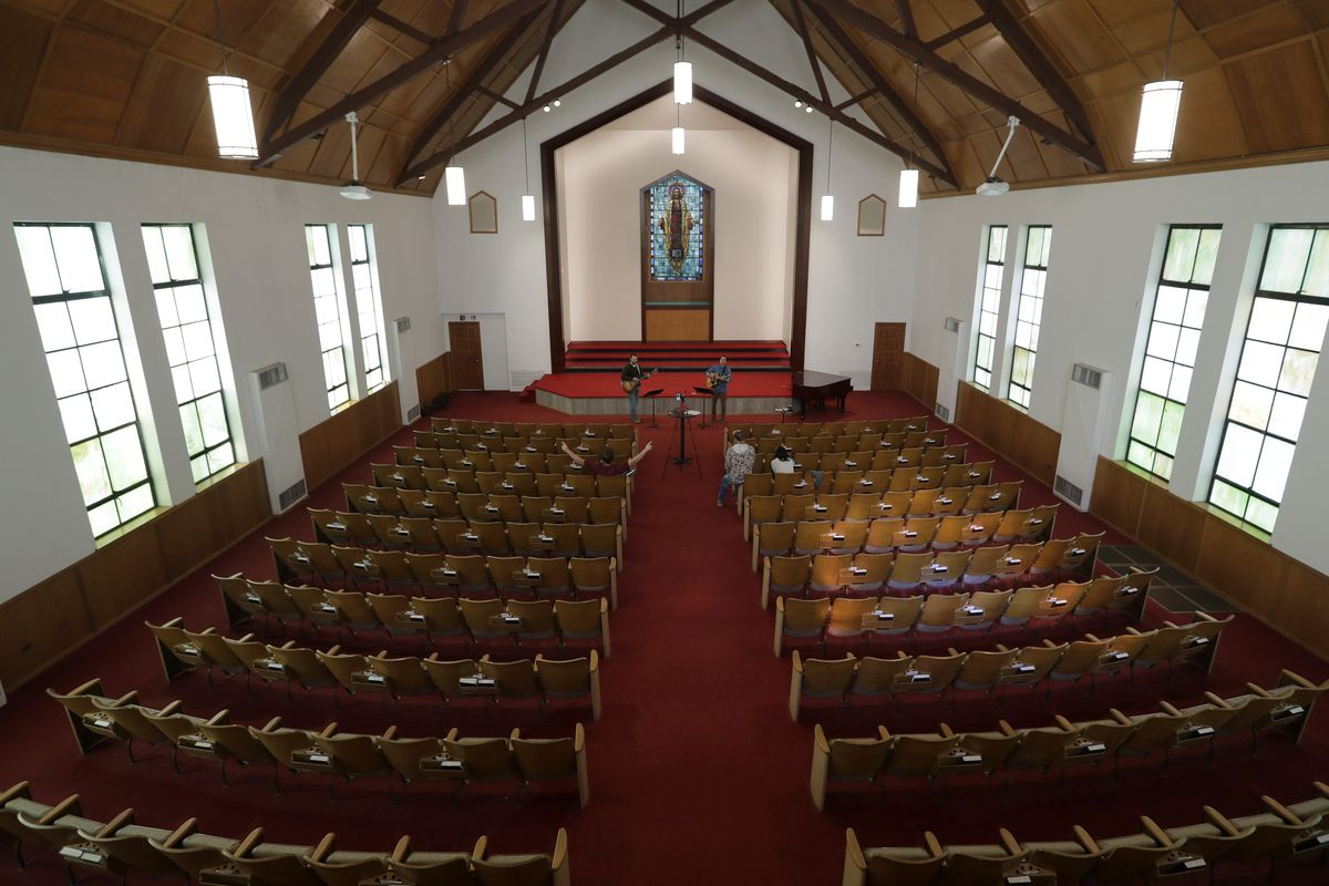 Churches across the country are empty due to the coronavirus. Some, like this church, are streaming services online.