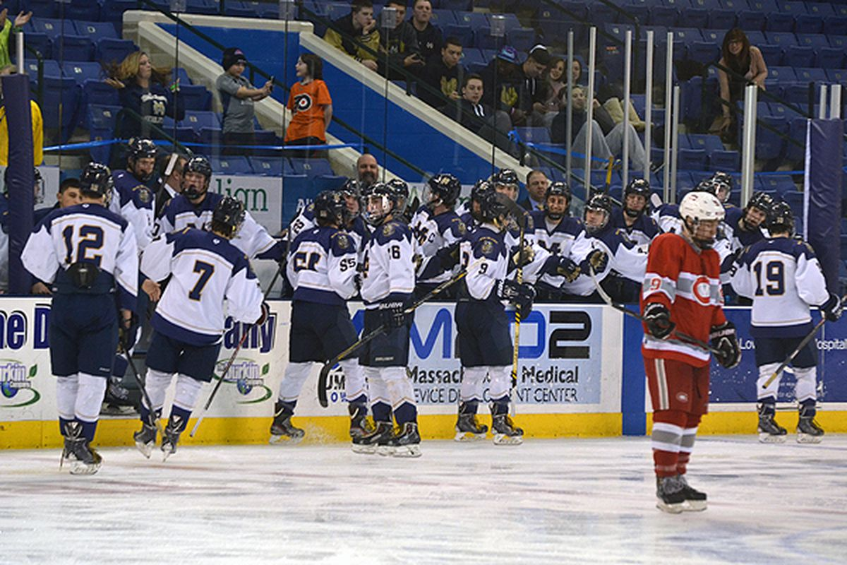 Malden Catholic players celebrate a goal against Catholic Memorial in the quarterfinals.