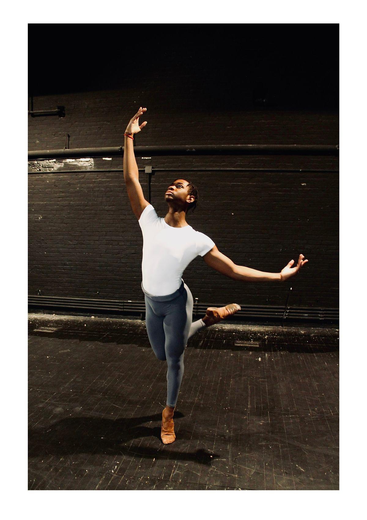 Newark student Stephen Haley dancing in a studio.