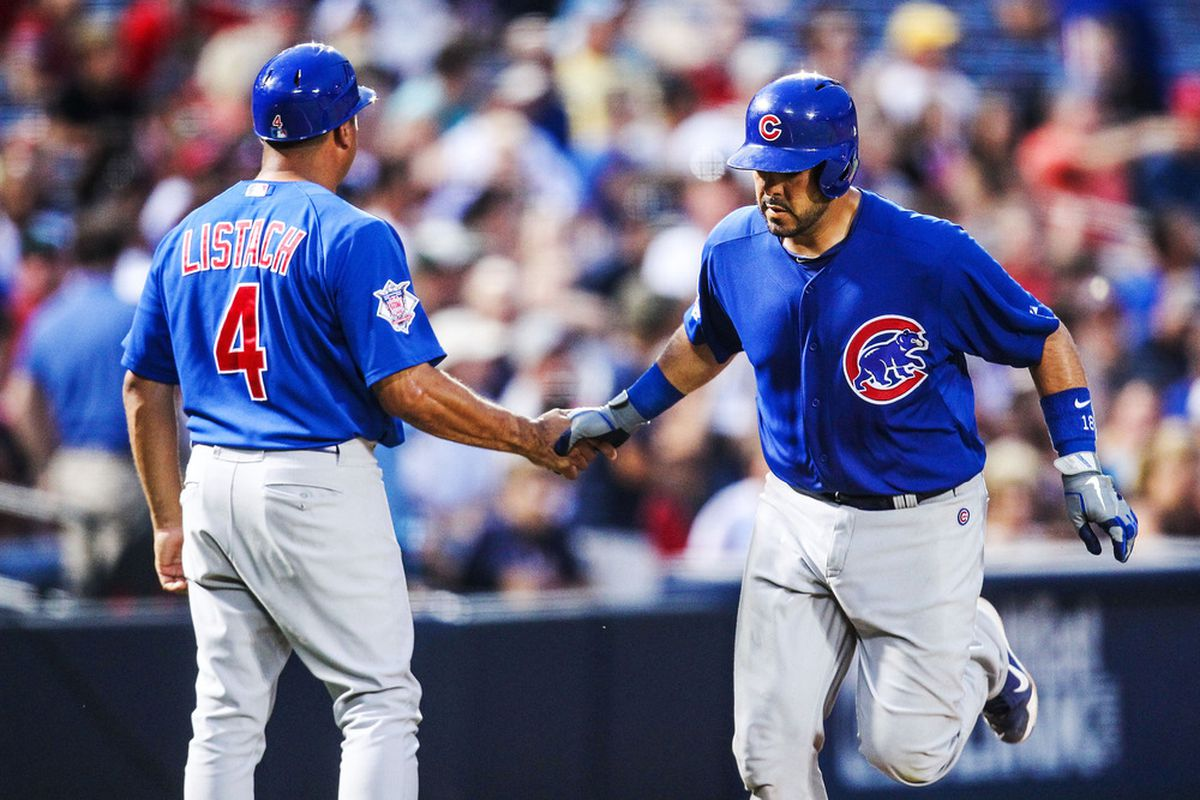 Atlanta, GA, USA; Chicago Cubs catcher Geovany Soto celebrates with third base coach Pat Listach after a solo home run against the Atlanta Braves at Turner Field. Credit: Daniel Shirey-US PRESSWIRE