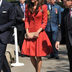 On July 8th, 2011 in Canada, the Duchess wears a Catherine Walker dress, L.K. Bennett shoes, and a maple leaf pin.