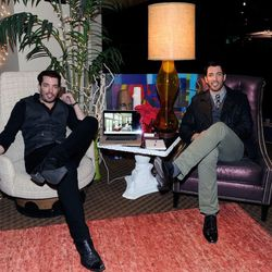 HGTV's <em>Property Brothers</em> Drew and Jonathan Scott hang out in Ken Wolfson's lounge at Backstage Creations Retreat at the American Country Awards.