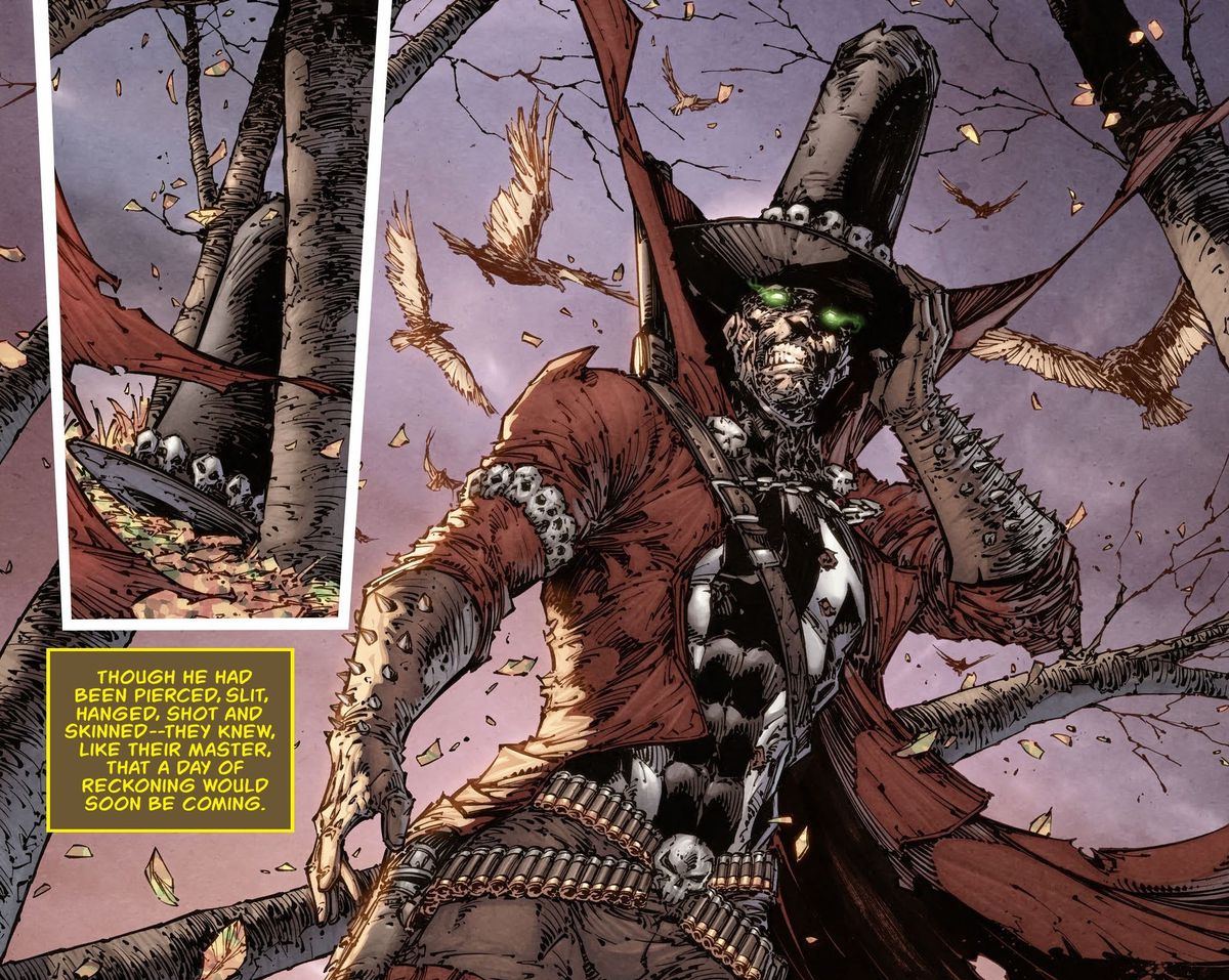 Gunslinger, an Old West version of Spawn, retrieves his tall hat with skulls around the brim and puts it on all cool-like in Spawn's Unvierse #1 (2021).