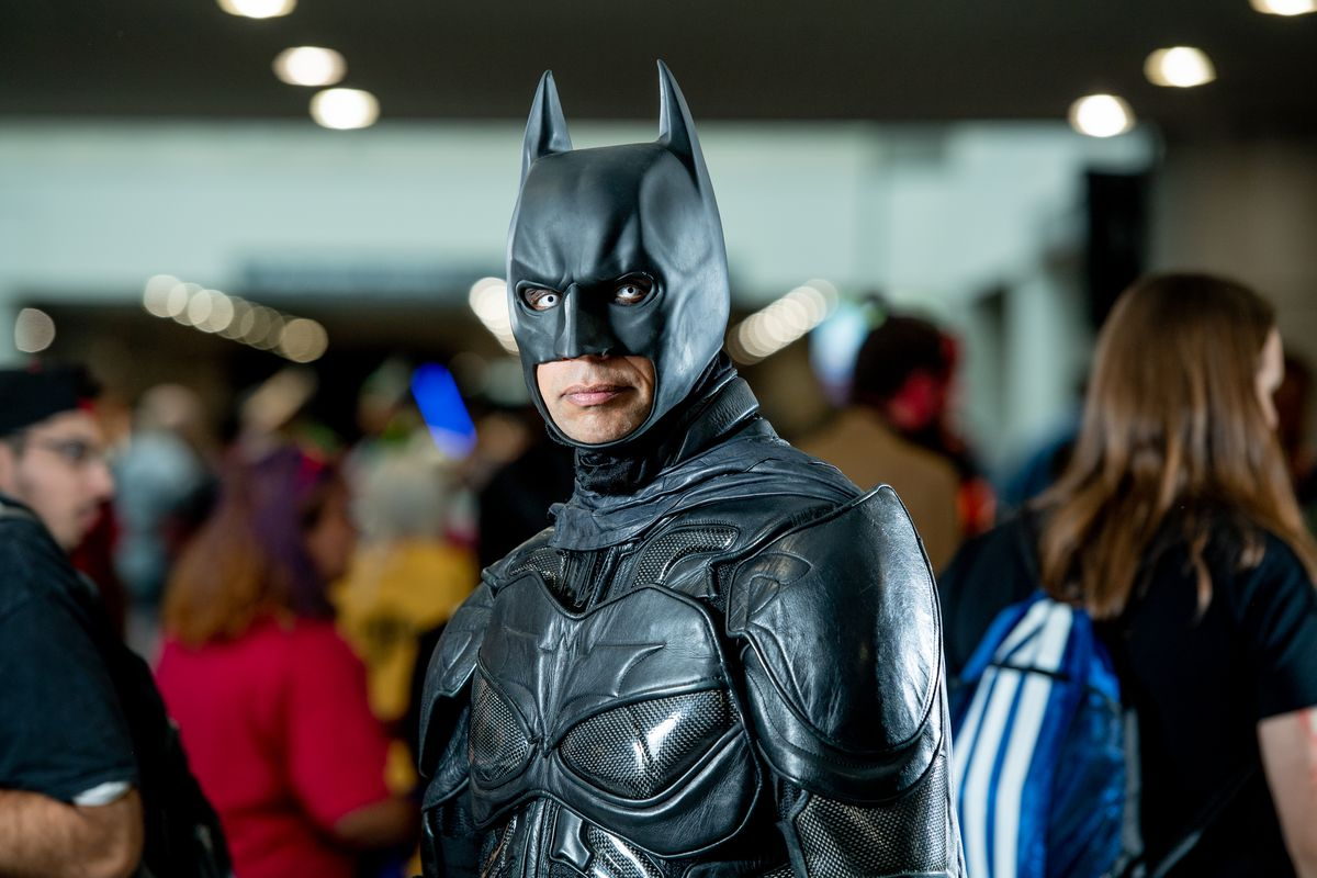 A fan cosplays as Batman from the DC Universe during the 2018 New York Comic Con at Javits Center on October 6, 2018 in New York City.