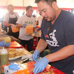 David Chang, helping out Roy Choi with quesadillas