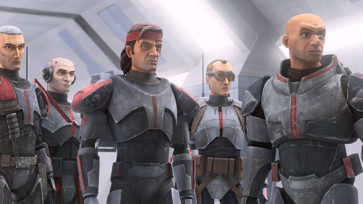 """Crosshair, Echo, Hunter, Tech and Wrecker in a scene from """"STAR WARS: THE BAD BATCH"""","""