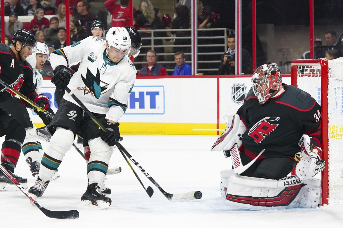 Oct 26, 2018; Raleigh, NC, USA; San Jose Sharks right wing Timo Meier (28) tips the shot on Carolina Hurricanes goaltender Petr Mrazek (34) during the fist period at PNC Arena.
