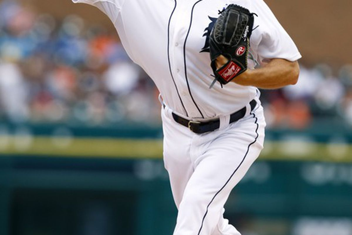 June 17, 2012; Detroit, MI, USA; Detroit Tigers starting pitcher Max Scherzer (37) pitches during the first inning against the Colorado Rockies at Comerica Park. Mandatory Credit: Rick Osentoski-US PRESSWIRE