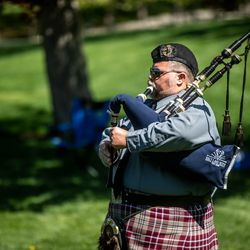 Sandy officer Ian Williams plays the bagpipesduring the annual Utah Police Memorial Service at the Capitol in Salt Lake City on Thursday, May 6, 2021. During the service, police officers, family, friends and community leaders honored the 147 Utah police officers killed in the line of duty.