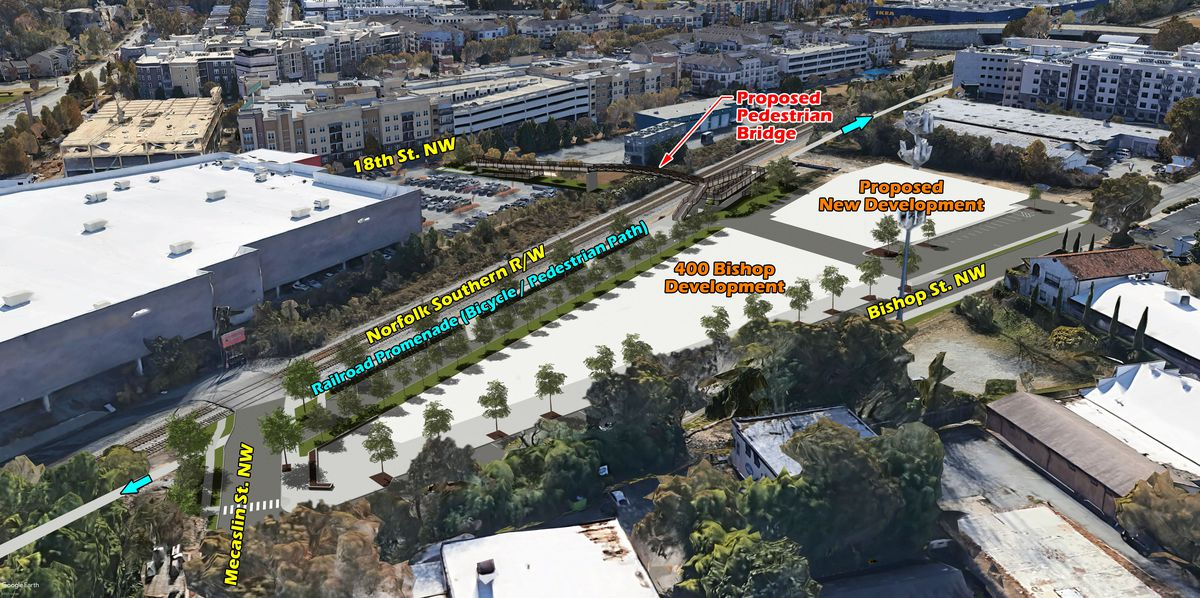 Another rendering shows the plans from the north side, with Atlantic Station's Target in the background.