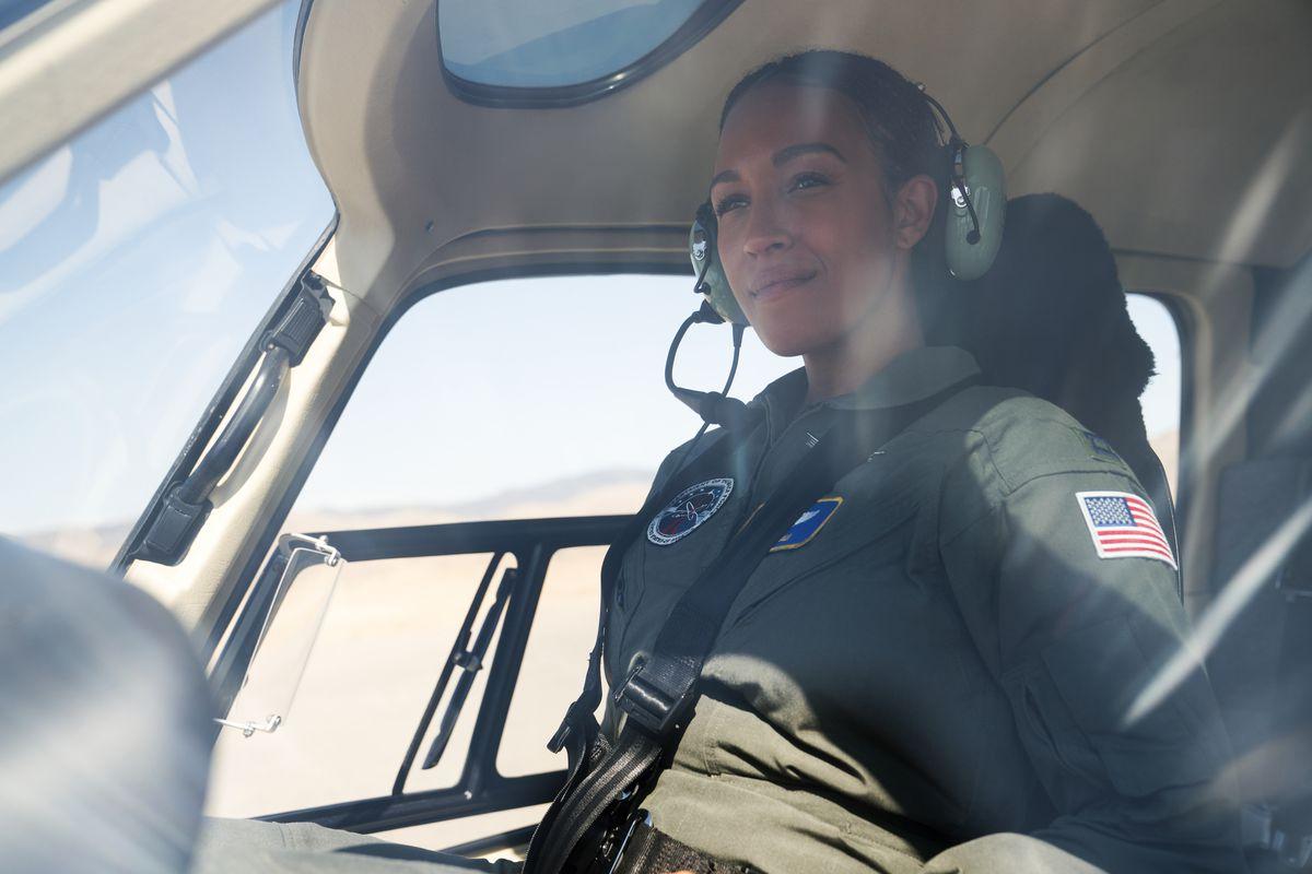pilot tawny newsome in cockpit go zoom