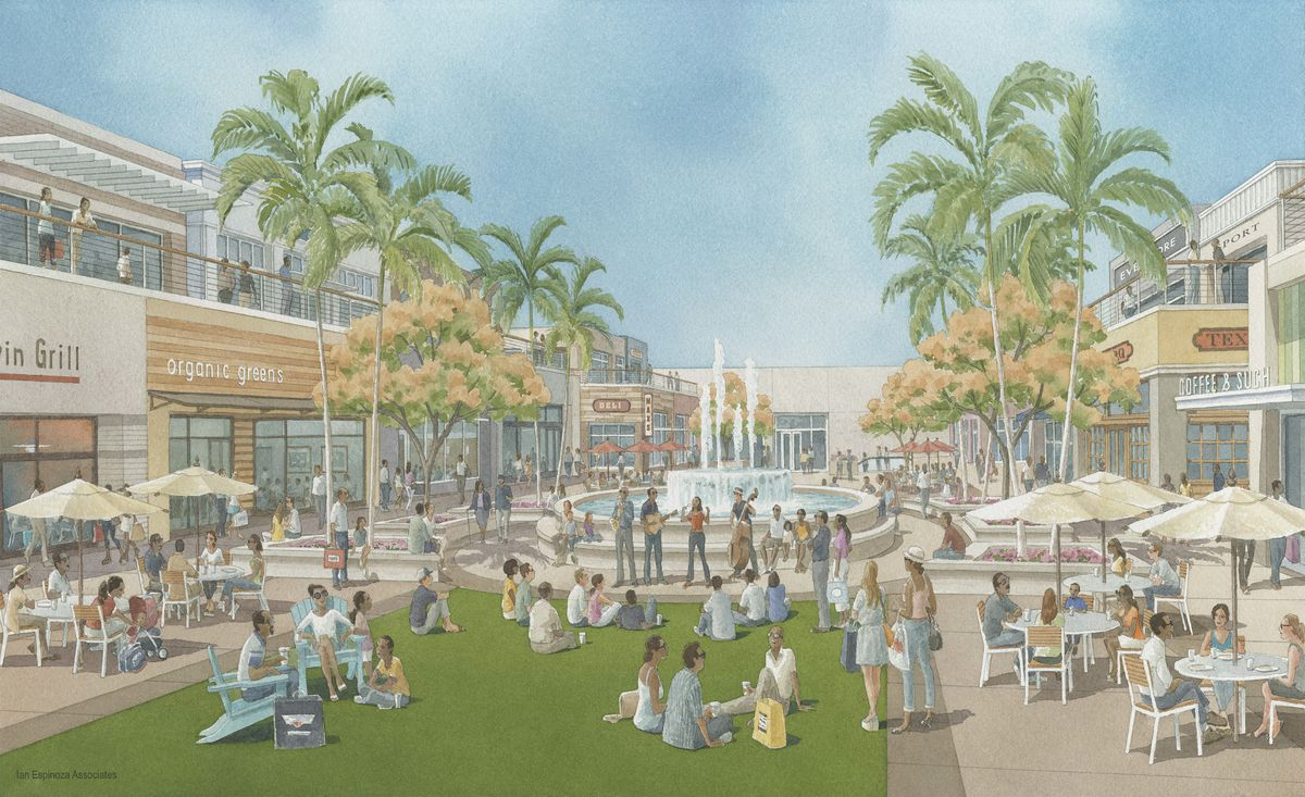 A rendering of the project planned to revamp the Baldwin Hills Crenshaw Plaza mall.