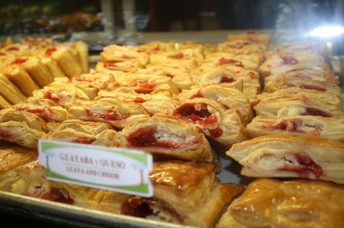 table of pastries filled with guava