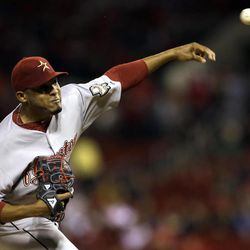 Houston Astros starting pitcher Fernando Abad throws during the first inning of a baseball game against the St. Louis Cardinals, Tuesday, Sept. 18, 2012, in St. Louis.