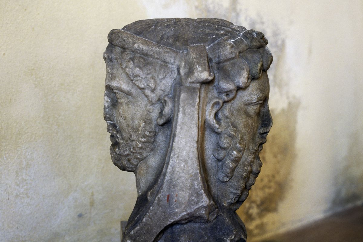 Two-faced Janus, sculpture in Verona, Veneto