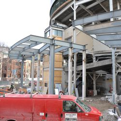 Another view of the bleacher patio behind the scoreboard. It's not yet connected to the left-field patio -