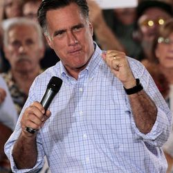 Republican presidential candidate, former Massachusetts Gov. Mitt Romney makes a point during a victory rally, Saturday, Sept. 1, 2012, at Union Terminal in Cincinnati.