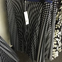 Zeyn pleated skirt in navy and ivory stripe, $99