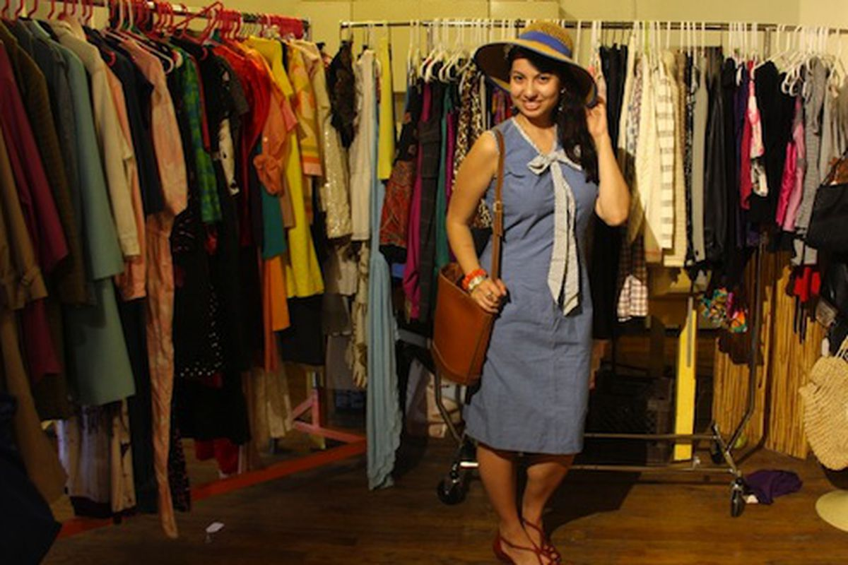 """Sassy Miss <strong>Leilani</strong> (A.K.A.) <a href=""""""""></a><a href=""""http://www.thriftaholic.com/2012/05/vintage-heaven-pop-up-sale-in-wicker.html"""">The Thriftaholic</a> head over heels in the racks at <strong>Vintage Heaven</strong>"""