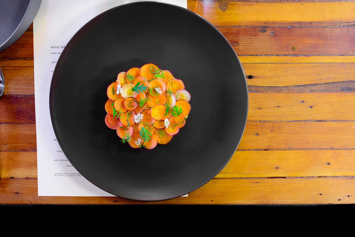 Heirloom carrots cooked with exotic spices and coconut, avocado, corianders at Oxheart