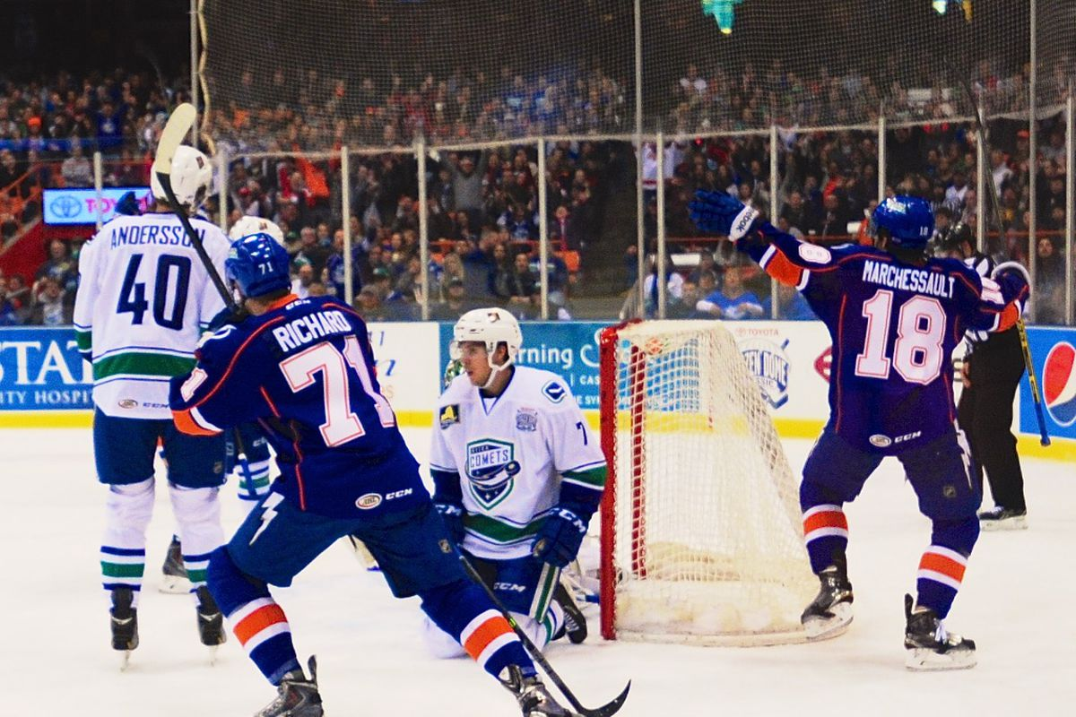 Forward Jonathan Marchessault celebrates his goal during the Frozen Dome Classic, which the Syracuse Crunch hosted this past Novemeber