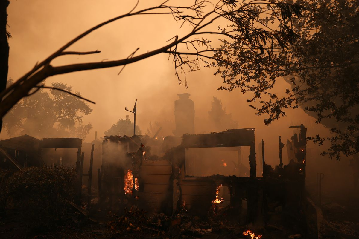 Cluster Of Destructive Wildfires Burns Through Napa And Sonoma Counties In California