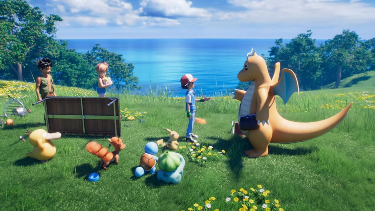 A Dragonite with a pouch hands a letter to Ash and his friends on a grassy field
