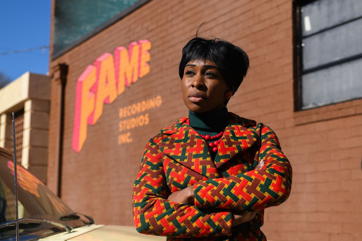 """Aretha Franklin (Cynthia Erivo) arrives at Fame Studios in Muscle Shoals, Alabama, in a scene from """"Genus: Aretha."""""""