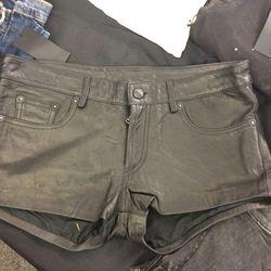 Leather shorts, $150