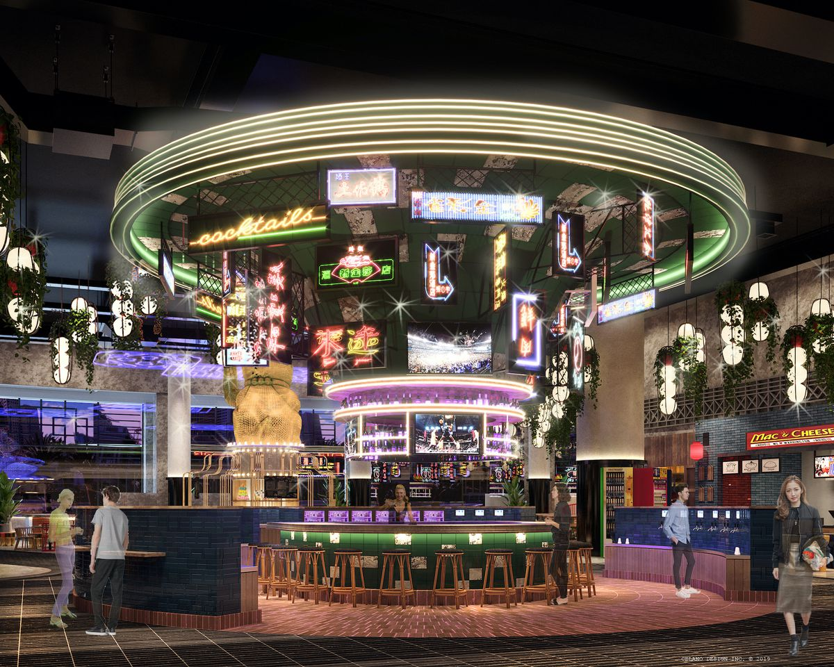 A rendering of a neon bar