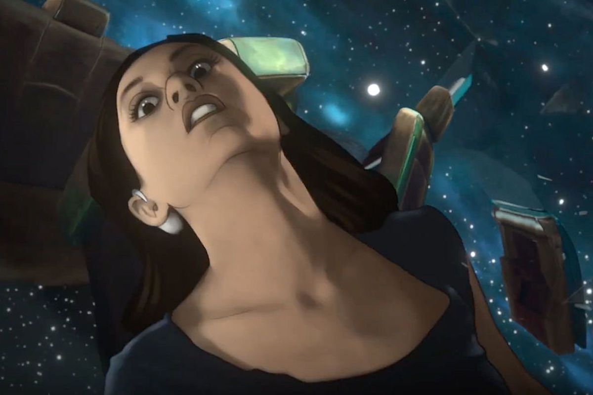 a girl floats in space, she looks scared