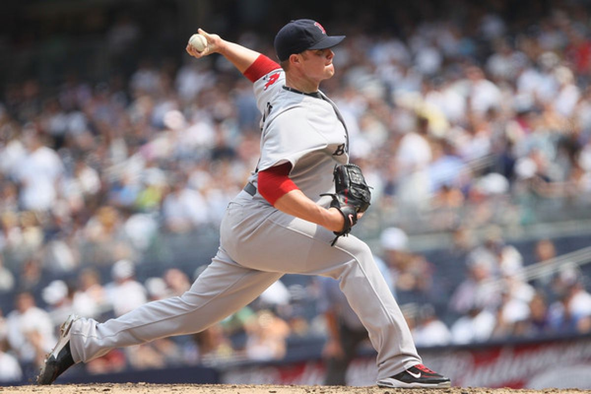 NEW YORK - AUGUST 09:  Jon Lester #31 of the Boston Red Sox pitches against the New York Yankees during their game on August 9 2010 at Yankee Stadium in the Bronx borough of New York City.  (Photo by Chris McGrath/Getty Images)
