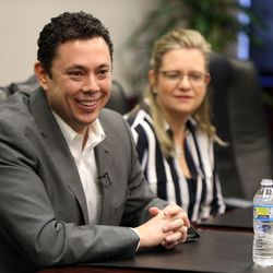 Rep. Jason Chaffetz, R-Utah, right, meets with the Deseret News and KSL editorial boards in Salt Lake City on Tuesday, Feb. 21, 2017.