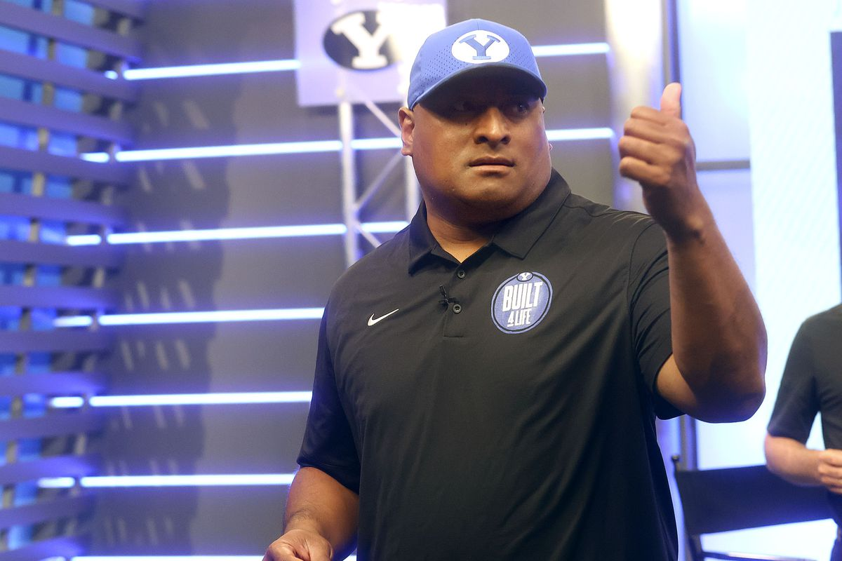 BYU football coach Kalani Sitake gives a thumbs-up during BYU football media day at the BYU Broadcasting Building in Provo.