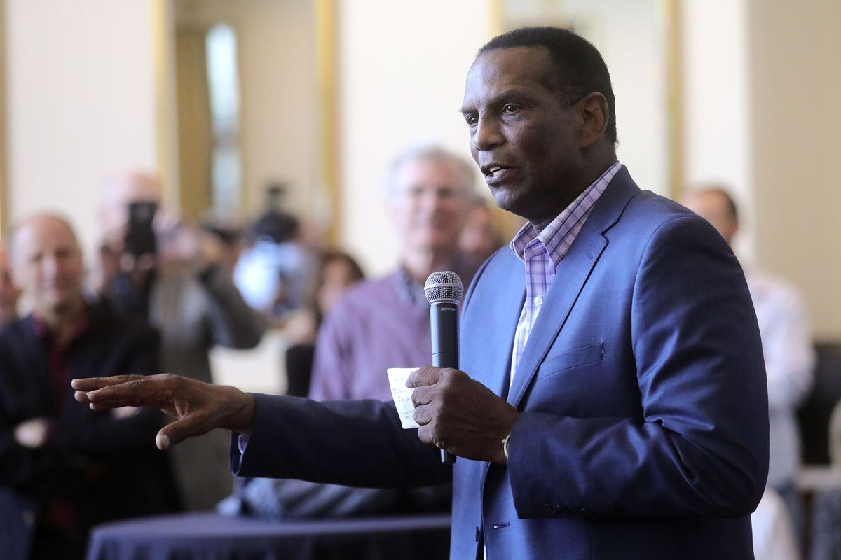 Republican Burgess Owens speaks during a campaign launch event at Hale Centre Theatre in Sandy on Wednesday, Nov. 6, 2019. On Sunday, Owens and Blake Moore, the Beehive State's two newest congressmen, were sworn into officeat the U.S. Capitol.