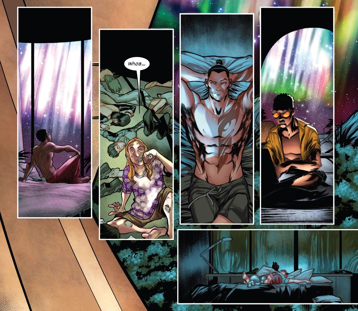 Members of X-Factor, including Eye-Boy, Daken, and Prodigy, notice Northstar and Aurora's lightshow from their various locations in Krakoa's Boneyard tower in X-Factor #5, Marvel Comics (2020).