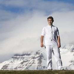 Kaden Dengin watches as more than 1,000 participants gather Monday, Dec. 1, 2014, at Rock Canyon Park in Provo to set a world record for the largest live Nativity.
