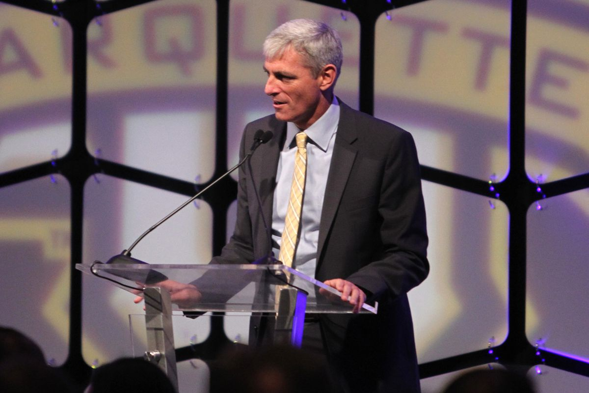 President Michael Lovell speaking at the Blue & Gold Aution in December.