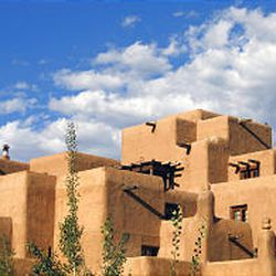 The inn at Loreto is a venerable Santa Fe hotel and a good example of the predominant architectural style of adobe Indian pueblos.