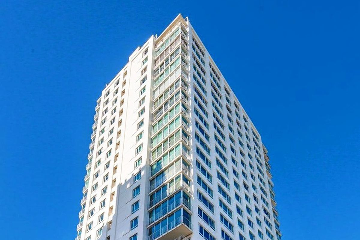 The exterior of 1200 California, a high-rise in Nob Hill.