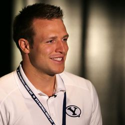BYU quarterback Taysom Hill talks during media day at the team's broadcast facility on campus in Provo, Wednesday, June 24, 2015.