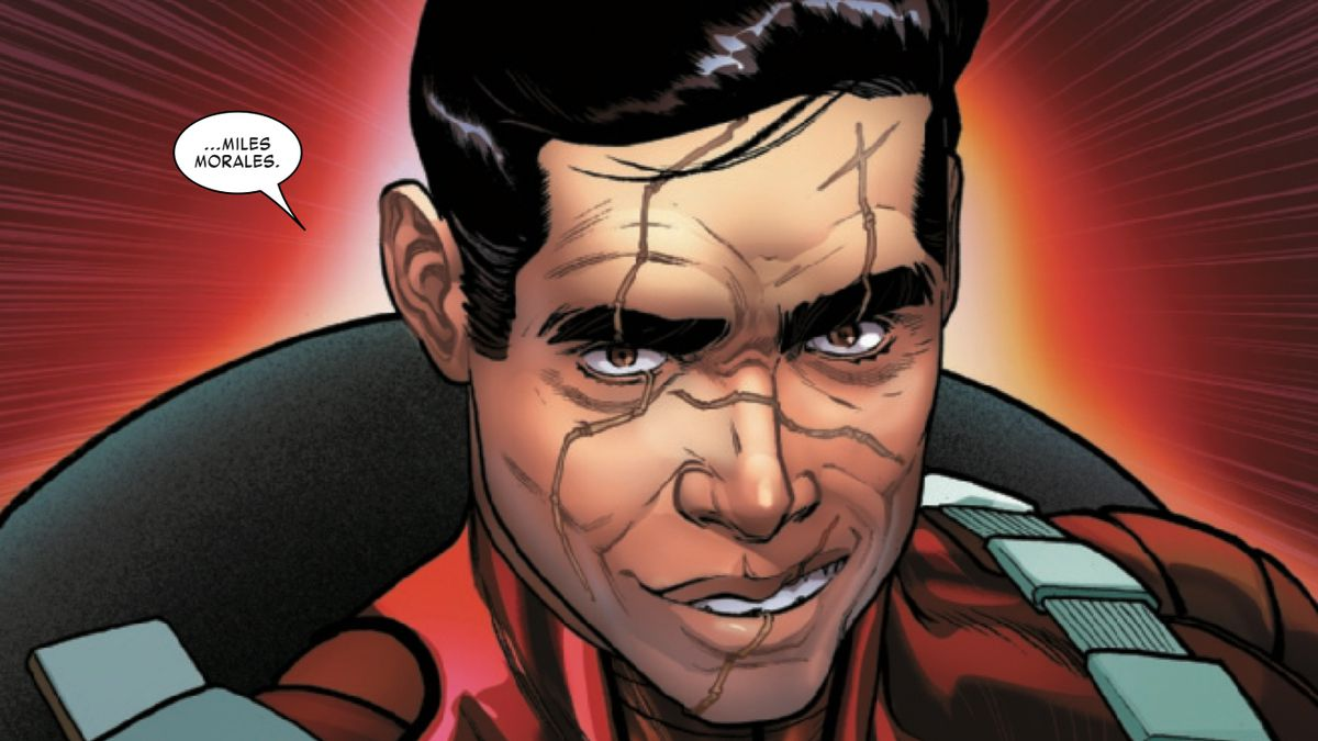 The Miles Morales of Earth-616 — he's older and evil and has a scarred face, in Miles Morales: Spider-Man #10, Marvel Comics (2019).