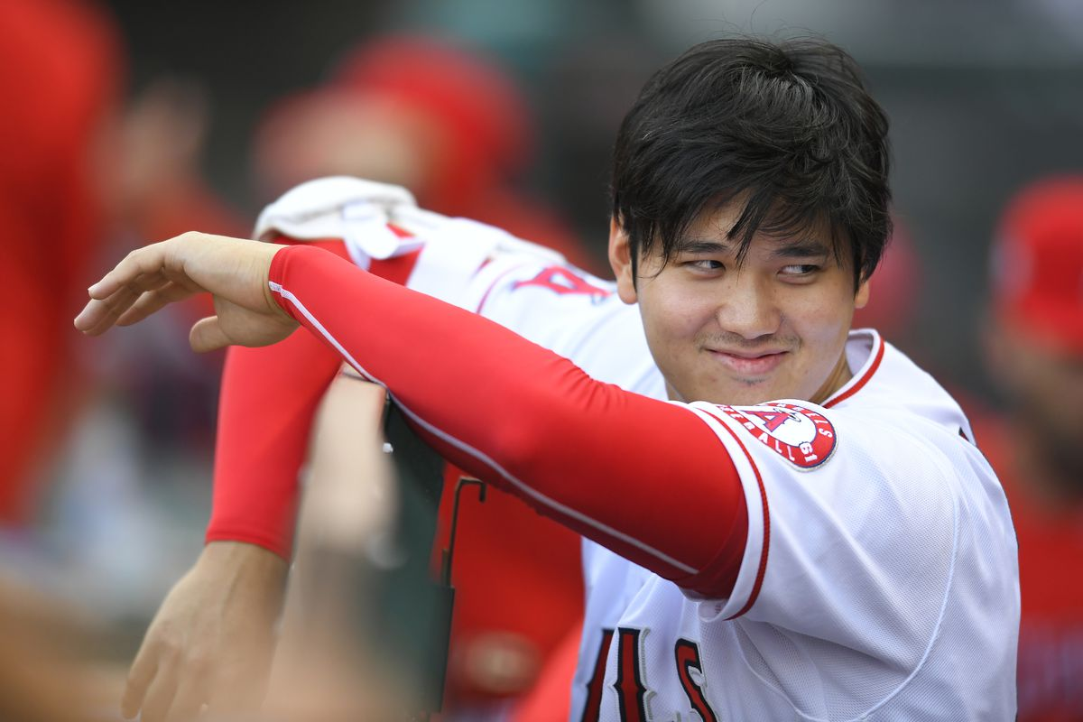 Shohei Ohtani (17) of the Los Angeles Angels seen in the first inning while playing the San Francisco Giants on June 22, 2021 at Angel Stadium in Anaheim, CA.